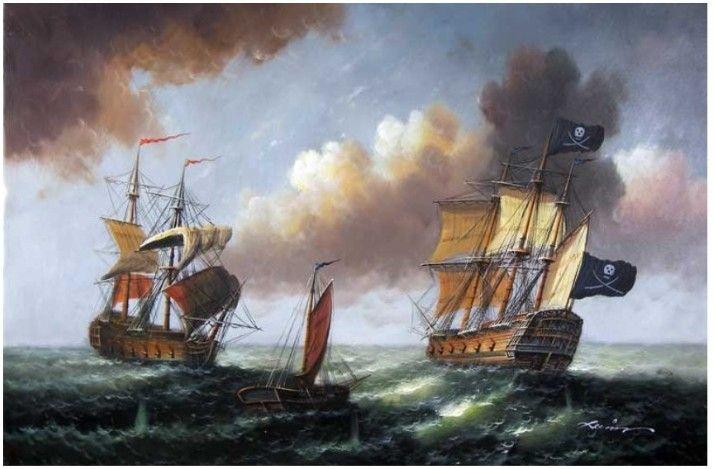 Piratenschiff Hohe See 1800er jahren Seascape Lge Ölgemälde(China (Mainland))