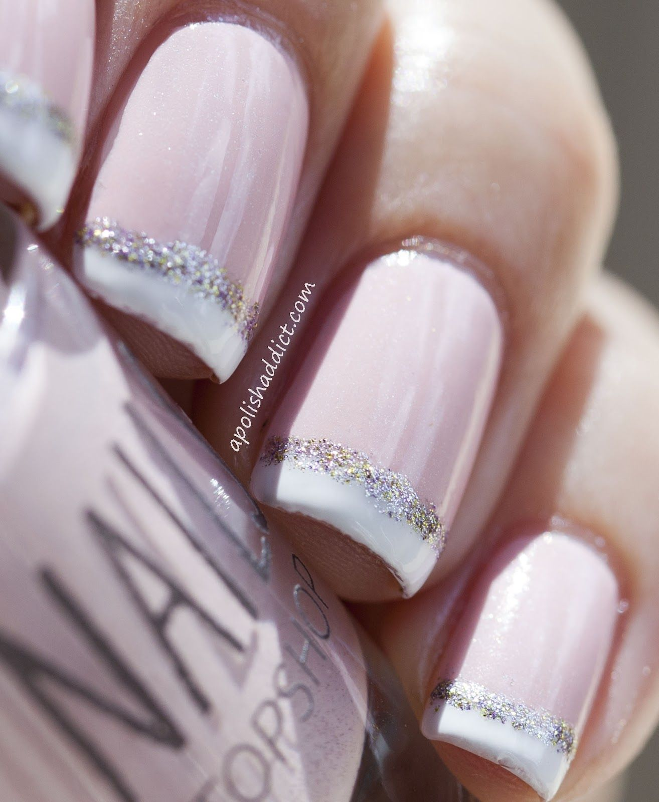 French tips with silver glitter, have yet to do this but love ...