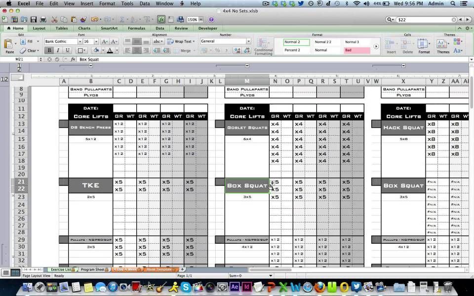excel workout plan