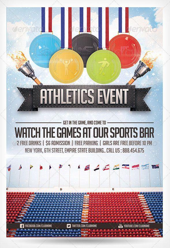 Athletics Sports Flyer Design Graphic Pinterest Flyer Template