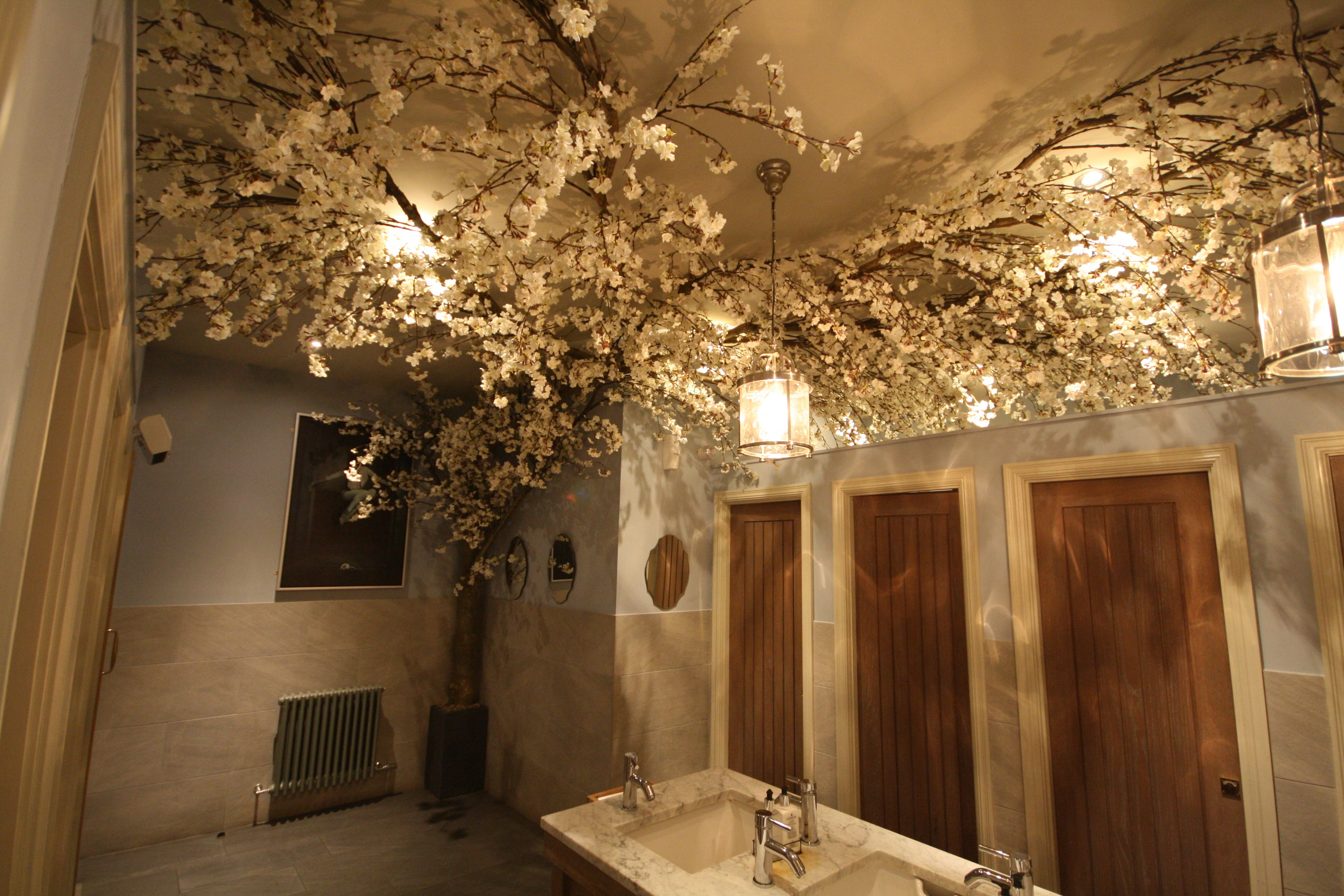 Artificial White Cherry Blossom Tree Vine At Lady Toilet Louis Brown Dalgety Bay Artificial Cherry Blossom Tree Cherry Blossom Decor Indoor Tree