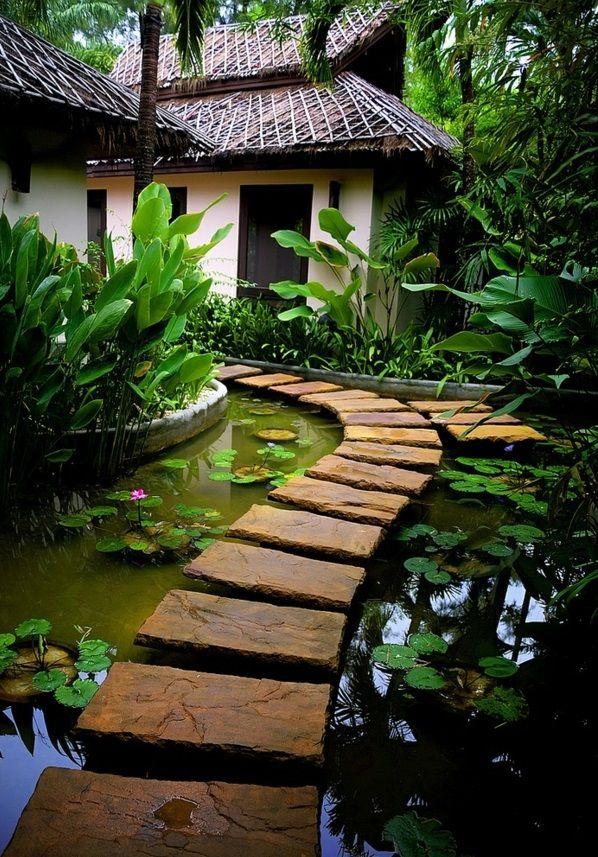 Gartengestaltungsideen Anlegen Bilder Modern Wasser Brücke