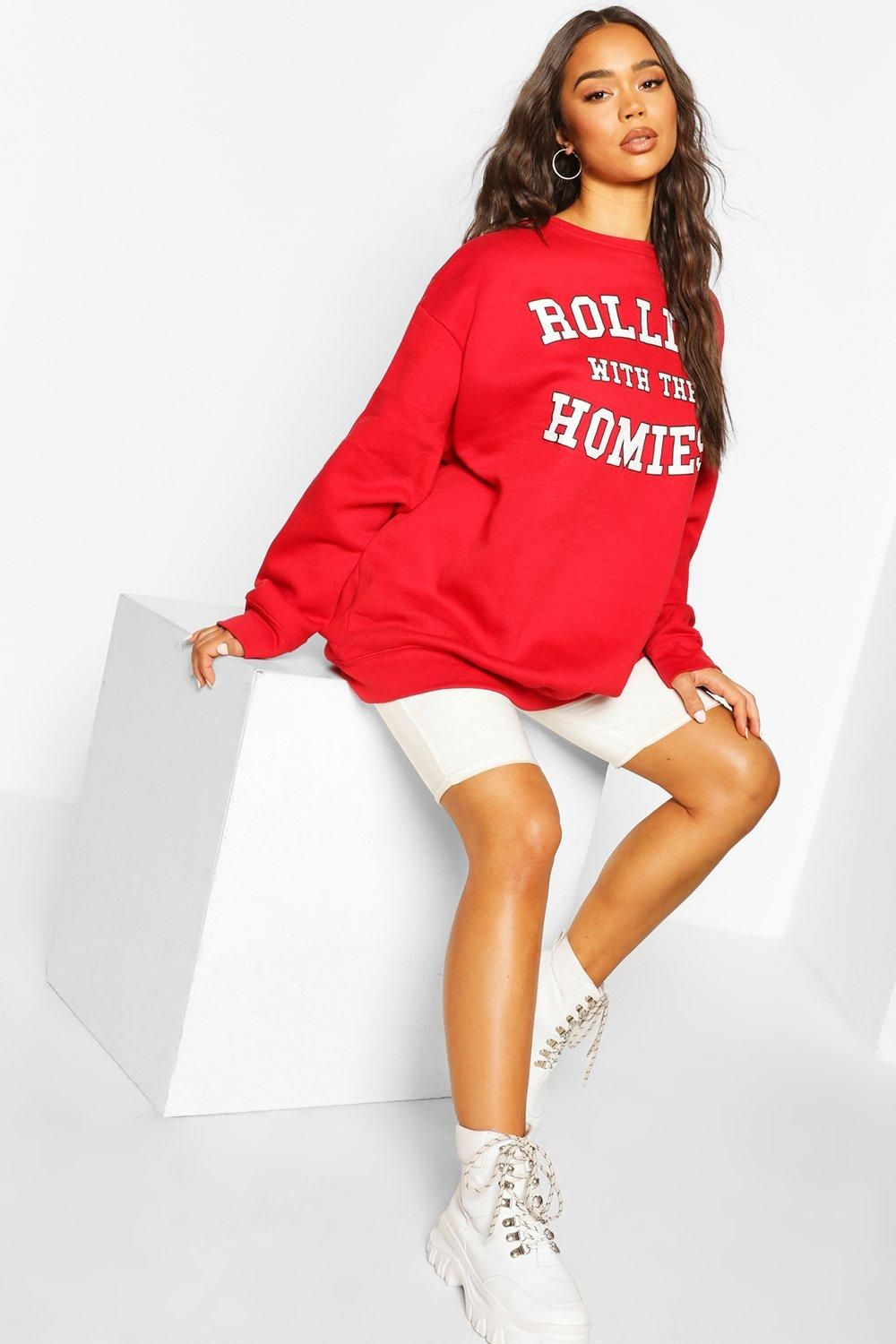 Womens Rolling With The Homies Slogan Oversized Sweatshirt - Red - S