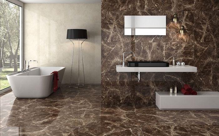Badezimmer Deko, Bad Mit Minimalistischem Design, Braune   Bad Braune  Fliesen