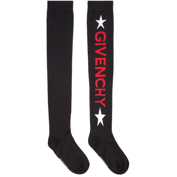 Givenchy Intarsia ribbed wool-blend socks (375 CAD) ❤ liked on Polyvore featuring intimates, hosiery, socks, black, star socks, ribbed socks, wool blend socks, givenchy and givenchy hosiery