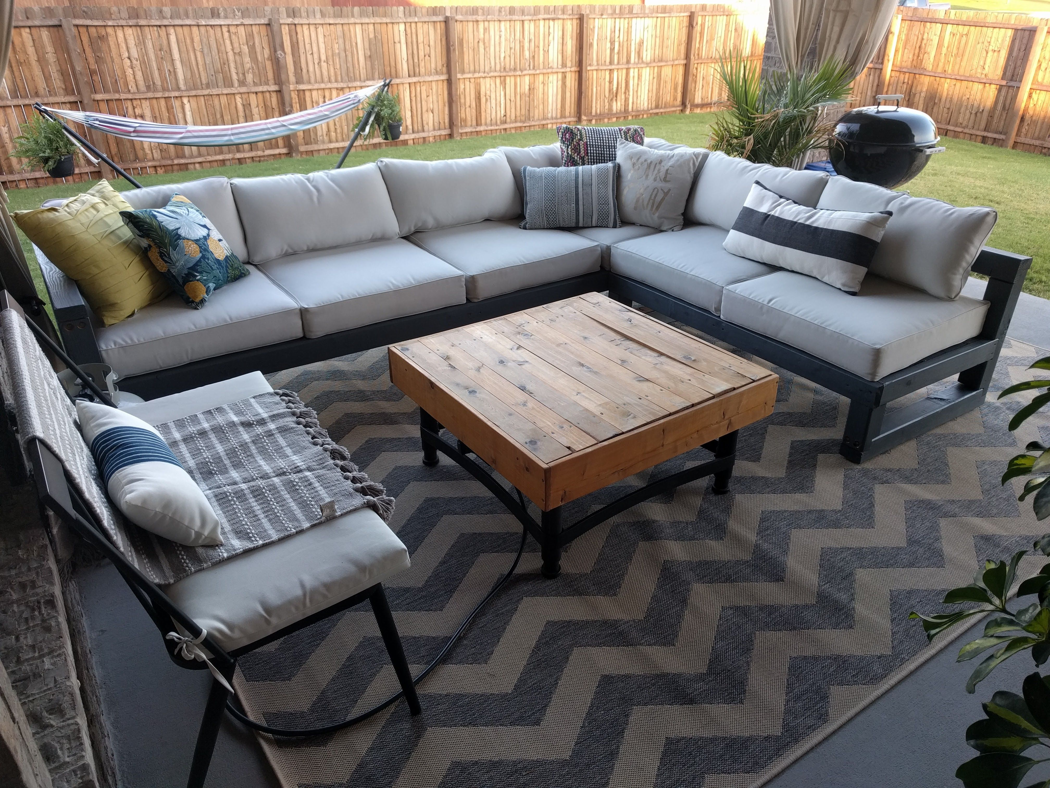 I made my wife a sturdy outdoor sectional out of cheap