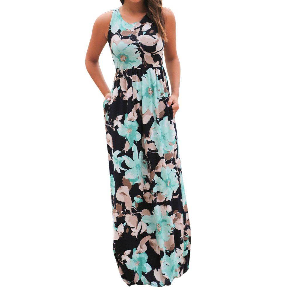 comprar Verano ropa casual sexy mujer sin mangas playa vestido largo  elegante damas Boho floral impreso Maxi partido Vestidos   Zer f638b64fd102