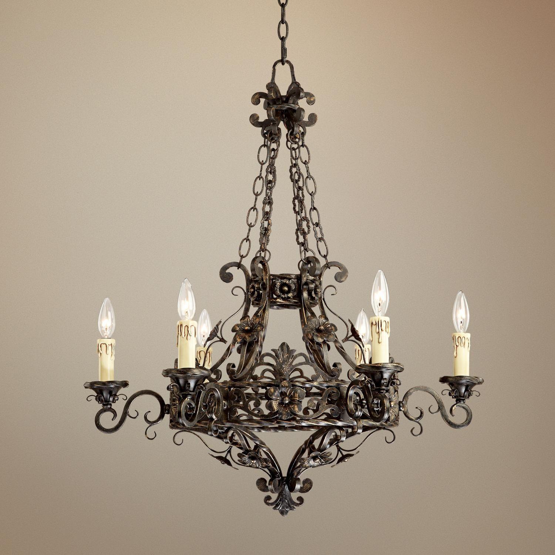 """Franklin Iron Works -   Dark Bronze 28"""" Wide 6-Light Iron Chandelier -"""