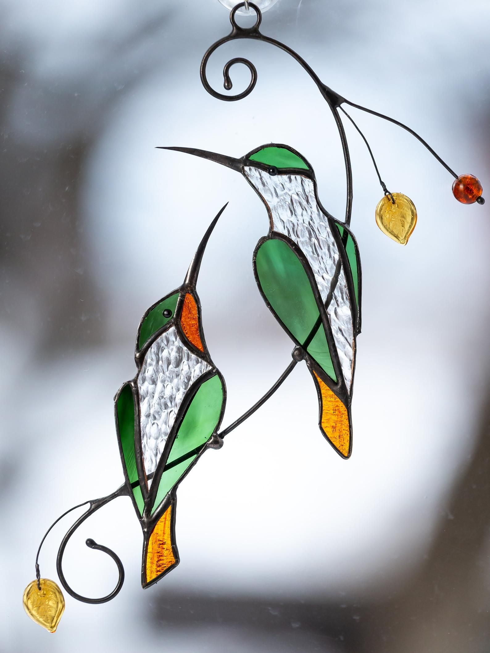 Hummingbird stained glass window hangings custom stained