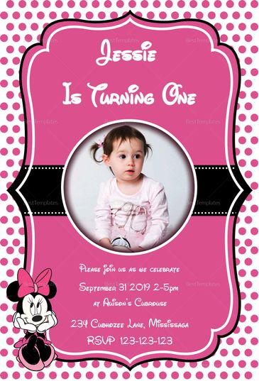 Memorable Minnie Mouse Birthday Invitation Template | Minnie mouse ...