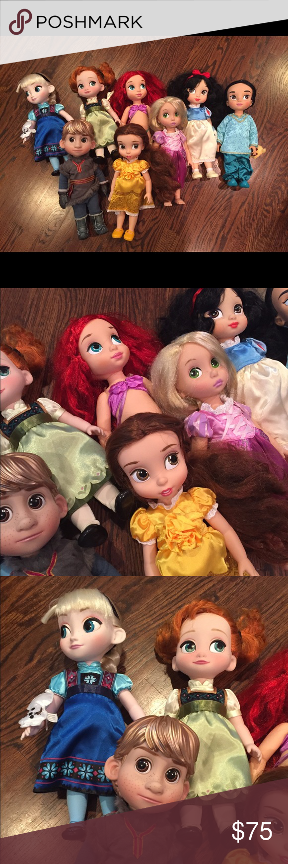 8 Disney Store Animator dolls 8 Disney Store Animator dolls. Great shape. We're used as decor in my daughters room. Some of the hair could use some brushing due to being in a box from a move. You can use a doll brush and a light spray of water to smooth. Ariel doesn't have her tail and Snow White has a pencil mark on her dress. These retail for $25 each new at the store. Awesome deal! Comes from very clean and smoke free home. This will be heavy to ship. Disney Other