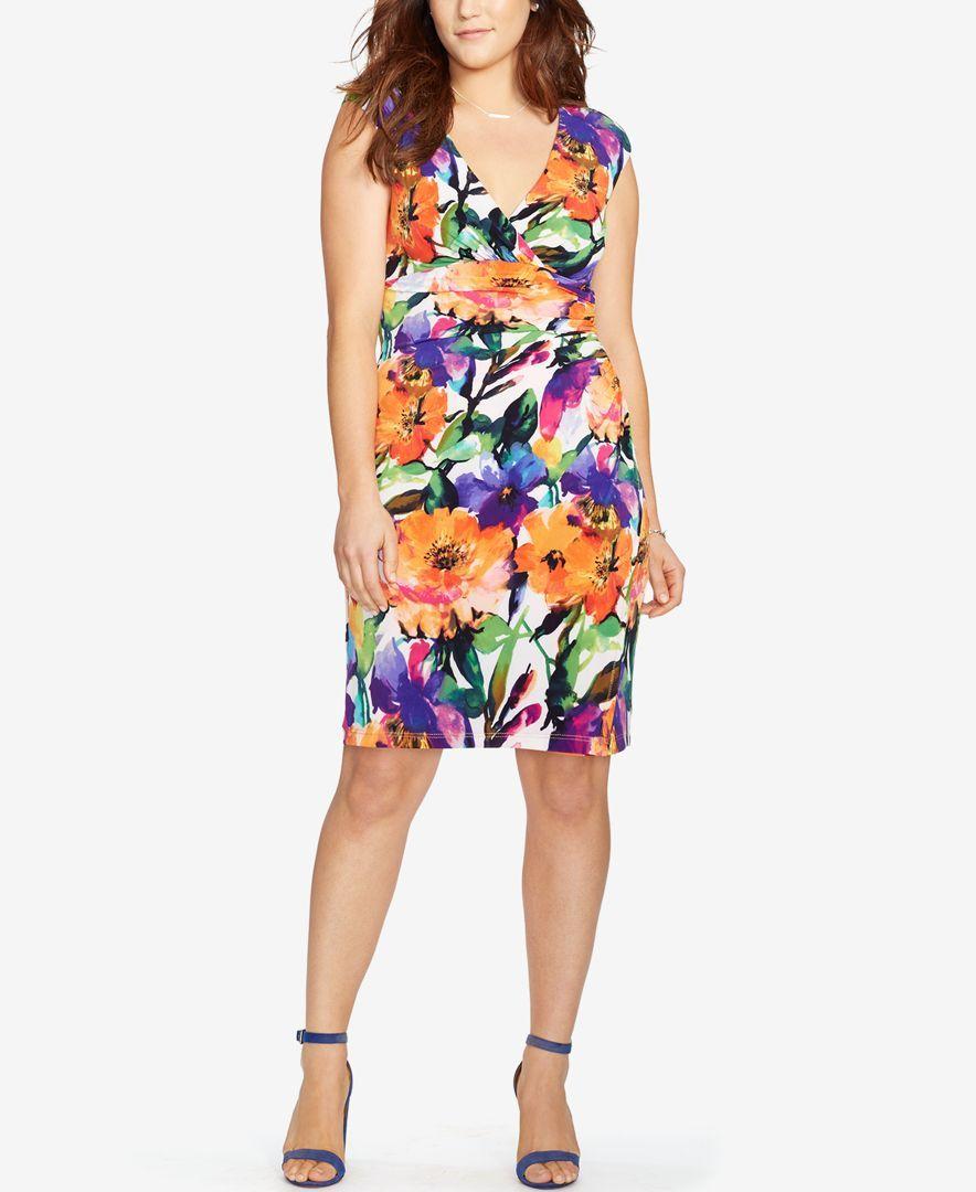 Lauren Ralph Lauren Plus Size Floral Print Jersey Dress Products