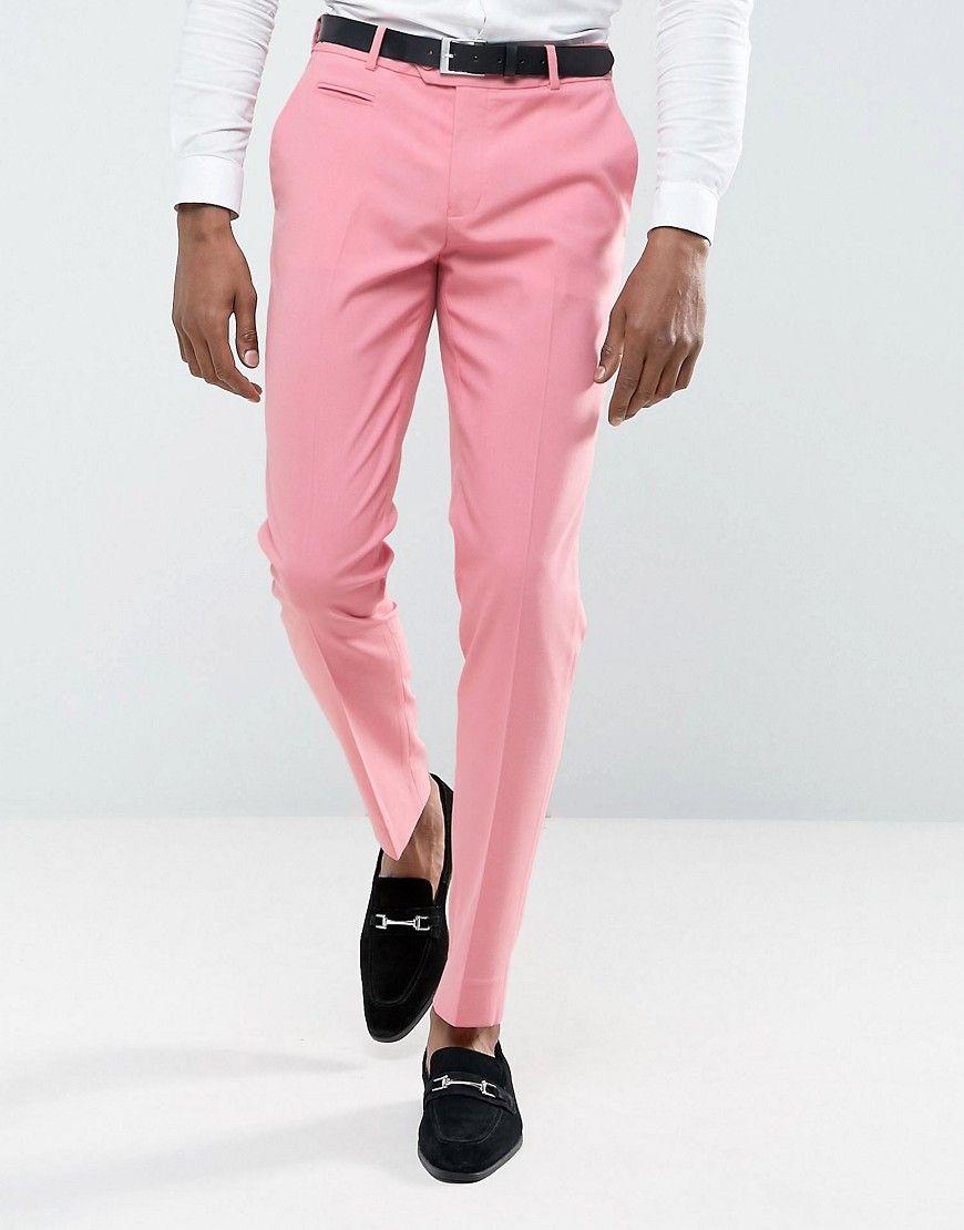 Asos Wedding Skinny Smart Pants In Pink Pink Mens Stretch Dress Pants Mens Skinny Suits Mens Polyester Pants [ 1110 x 870 Pixel ]