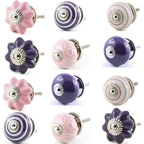 lot de 12 pcs boutons de porte placard tiroir meuble c ramique vintage shabby chic 12er rose. Black Bedroom Furniture Sets. Home Design Ideas