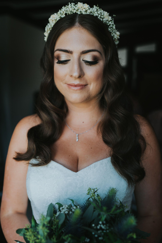 natural bridal makeup. gold bridal makeup. flower crown and