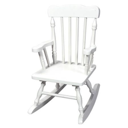 Hand-Carved Child's Wood Rocking Chair in White