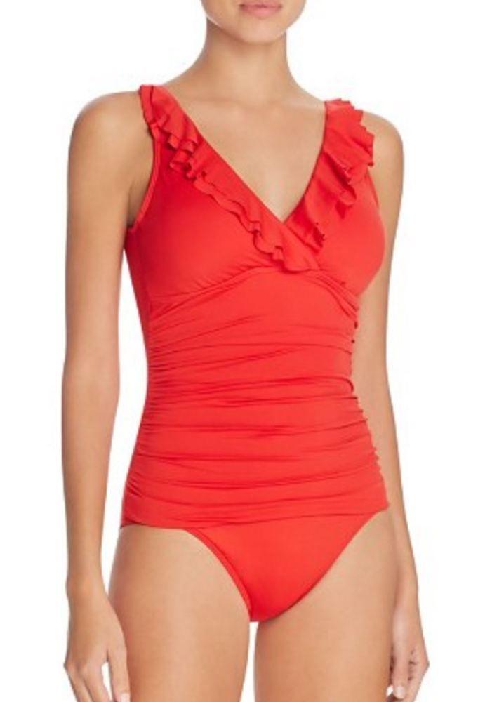 Ralph Lauren Laguna Beach Coral Ruffled One Piece Swimsuit $119 NWT Small 8 #RalphLauren #OnePiece
