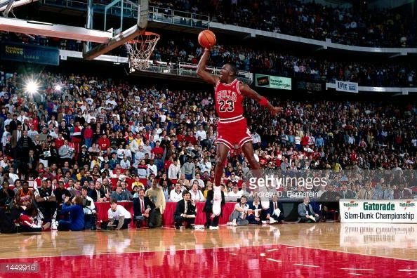 Michael Jordan of the Chicago Bulls goes for a dunk during the 1988 NBA All Star