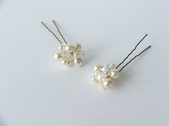 CLARICE Crystal & Pearl Hair PinsHair Pin Set by LittleWillowandCo
