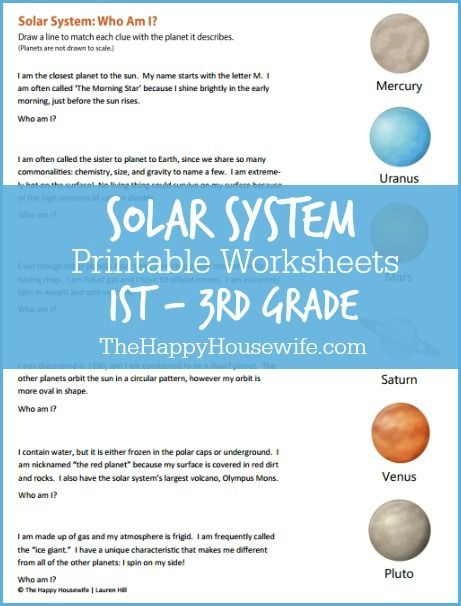 Solar System Worksheets: Free Printables | Solar system, Housewife ...