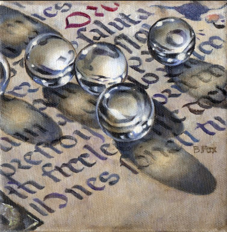 Barbara Fox is my new favorite contemporary artist. She has managed to combine three of my loves, watercolors, calligraphy, and marbles.