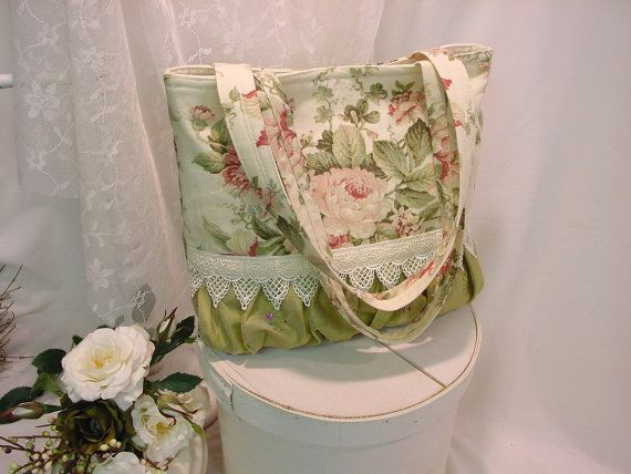 Cottage Rose Tote, coral pink Roses with sage green, Beaded Silky Ruching & Venician Lace, outside pockets, shabby chic Handmade Handbag