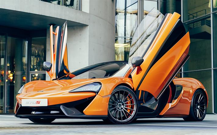 Lataa kuva McLaren 570S, 2017, 4k, oranssi urheilu coupe, kilpa superauto, British autot