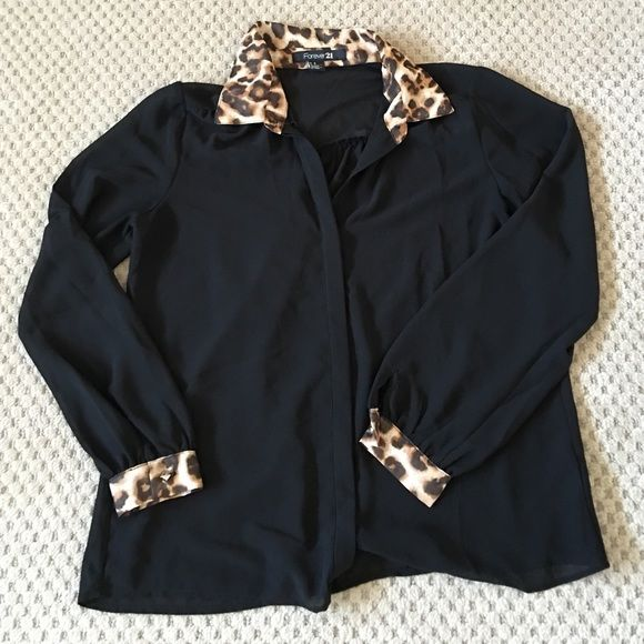 Black blouse with leopard collar and cuffs Black blouse with leopard collar and cuffs Forever 21 Tops Blouses