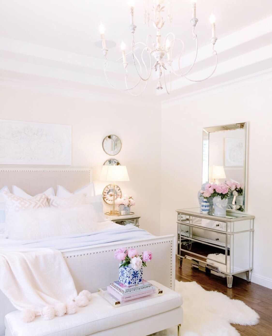 20 Feminine Master Bedrooms  #graybedroomwithpopofcolor Soft, feminine and serene that's what these bedrooms are. Soft colors with pops of color in decor, add a blanket and a couple of pillows to make it all come together and you have your own feminine bedroom. #graybedroomwithpopofcolor