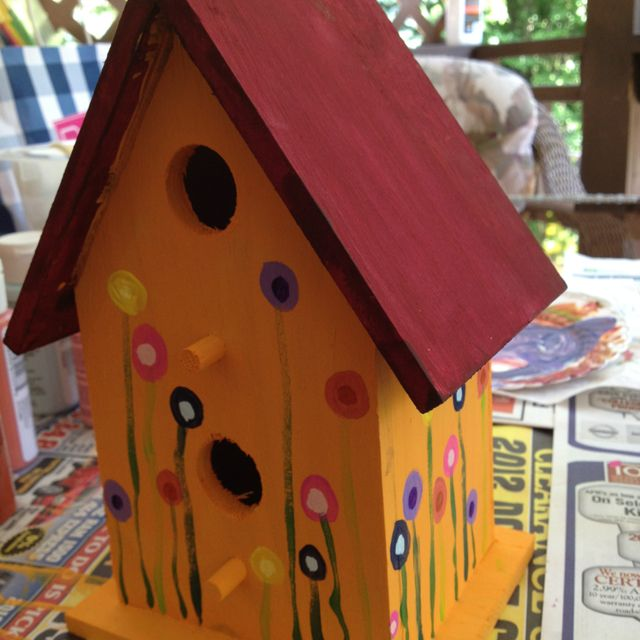 Bird House Painted With Acrylic Paint And Sealed With A Sealant