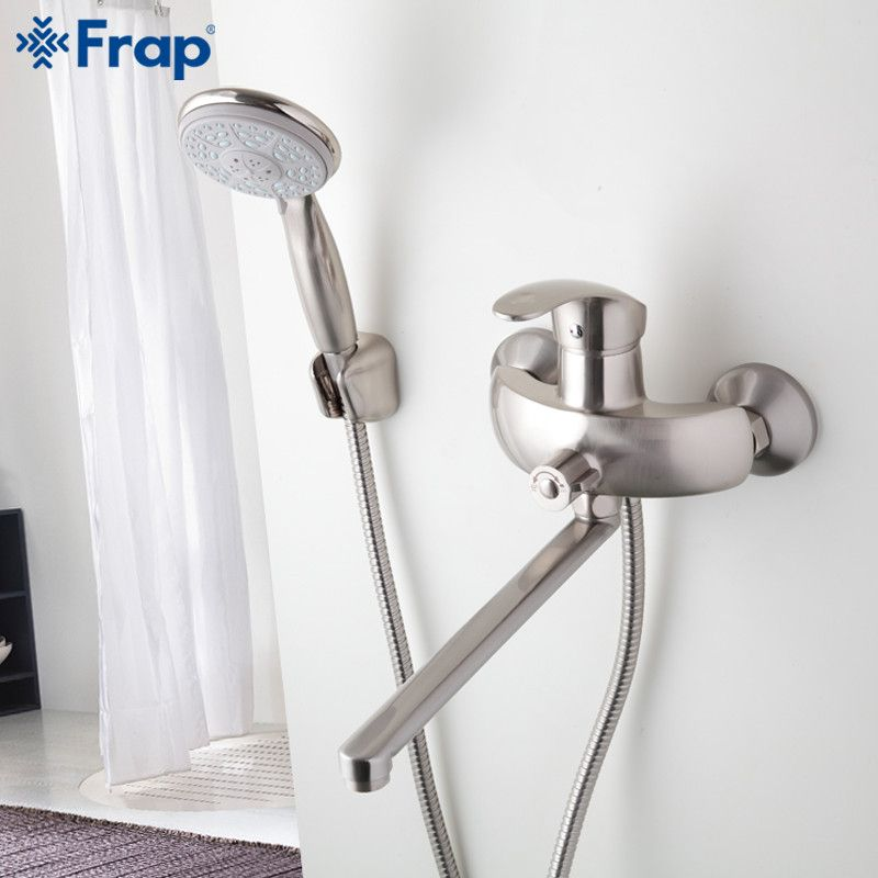 1 Set Nickel Brushed Bathroom Shower Faucet Brass Body Mixed Hot