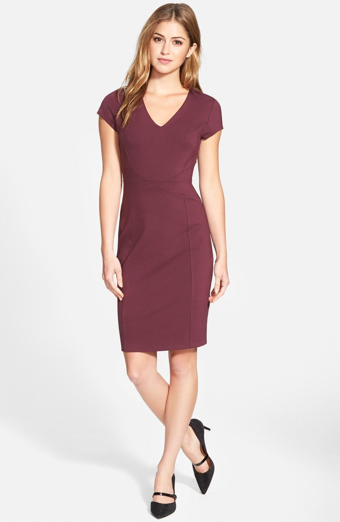 Halogen® Seamed V Neck Ponte Sheath Dress (Regular & Petite