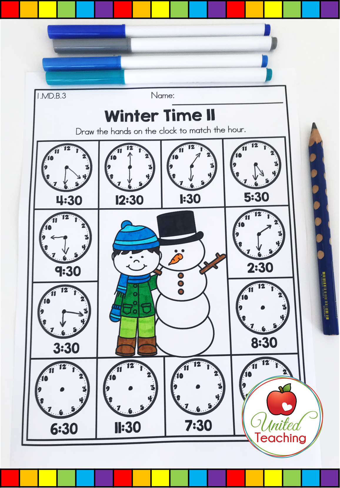 Telling Time To The Half Hour No Prep Math Activity