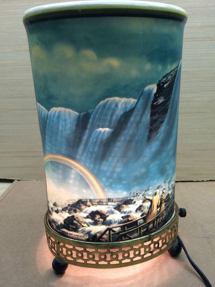 Vintage Rare 1960 Rainbow Niagara Falls Oval Motion Lamp