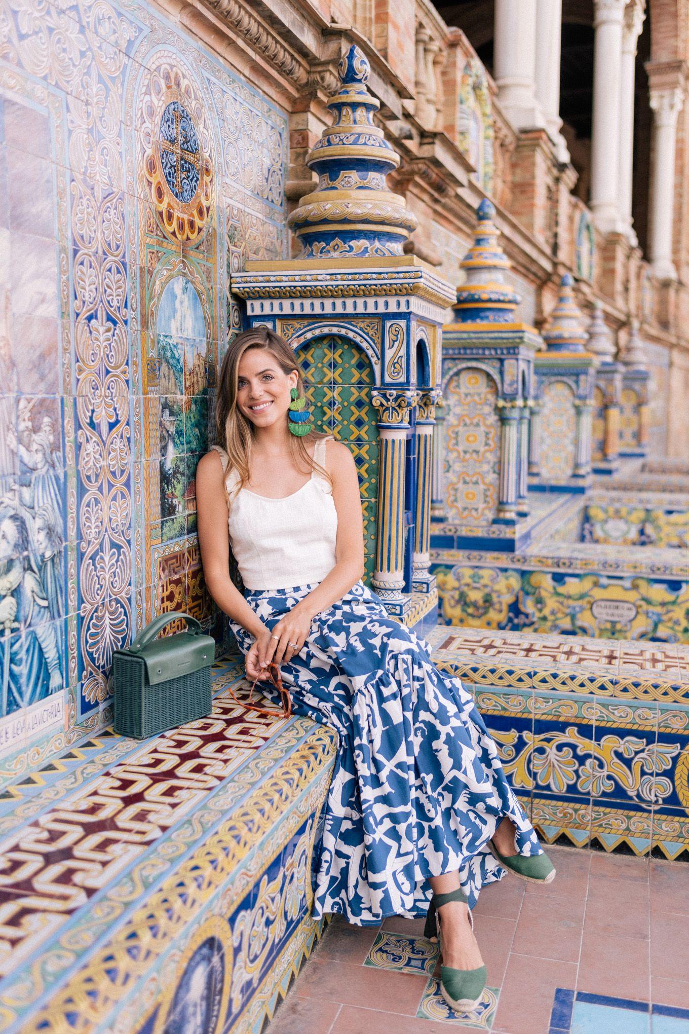 Seville Fashion: Golden Morning Glow At Plaza De España, Seville