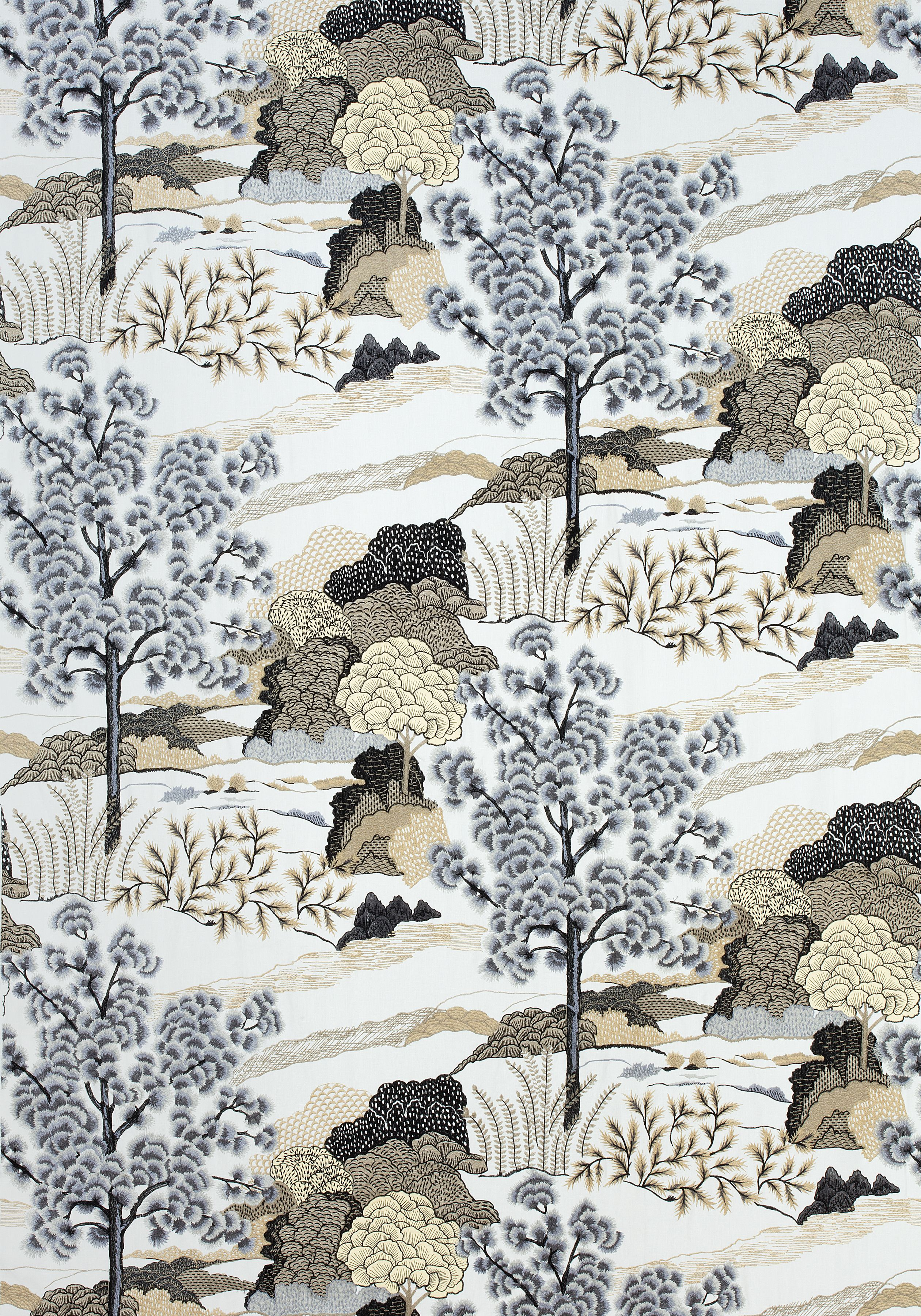 DAINTREE EMBROIDERY, Grey, W785001, Collection Greenwood