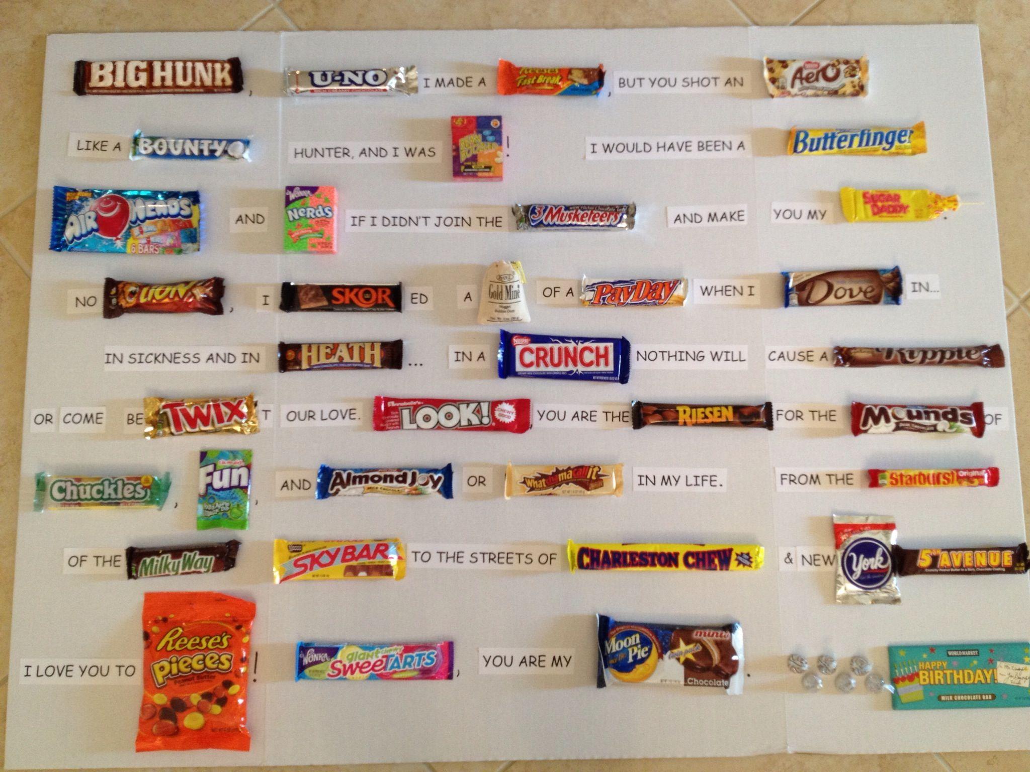 a candy bar card i made for my husband