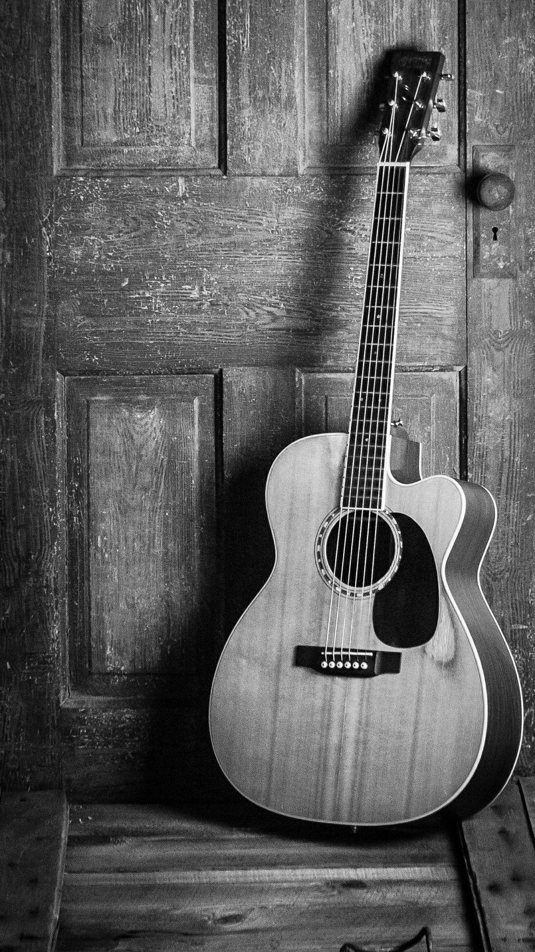 Black And White Wallpaper Of A Guitar Gitar Akustik Akustik Gambar
