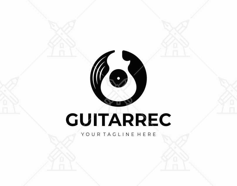 vinyl record and electric guitar logo design guitar music disc vector gramophone vinyl record in 2020 logo templates guitar logo logo design pinterest