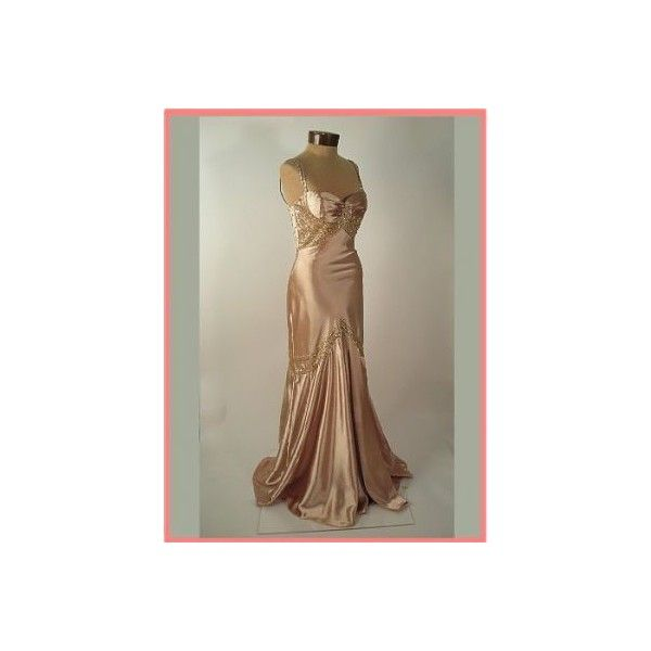 30s Vintage Style Deco Mermaid Gown-Prom Dress-Special Occasion Dress ($175) found on Polyvore