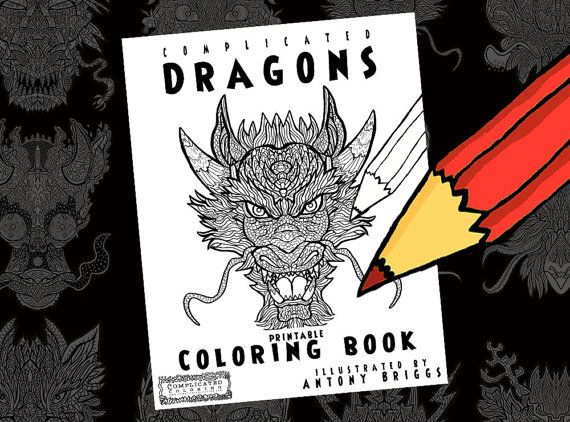 Dragon Coloring Pages For Adults Pdf : Dragons coloring book printable adult colouring complicated