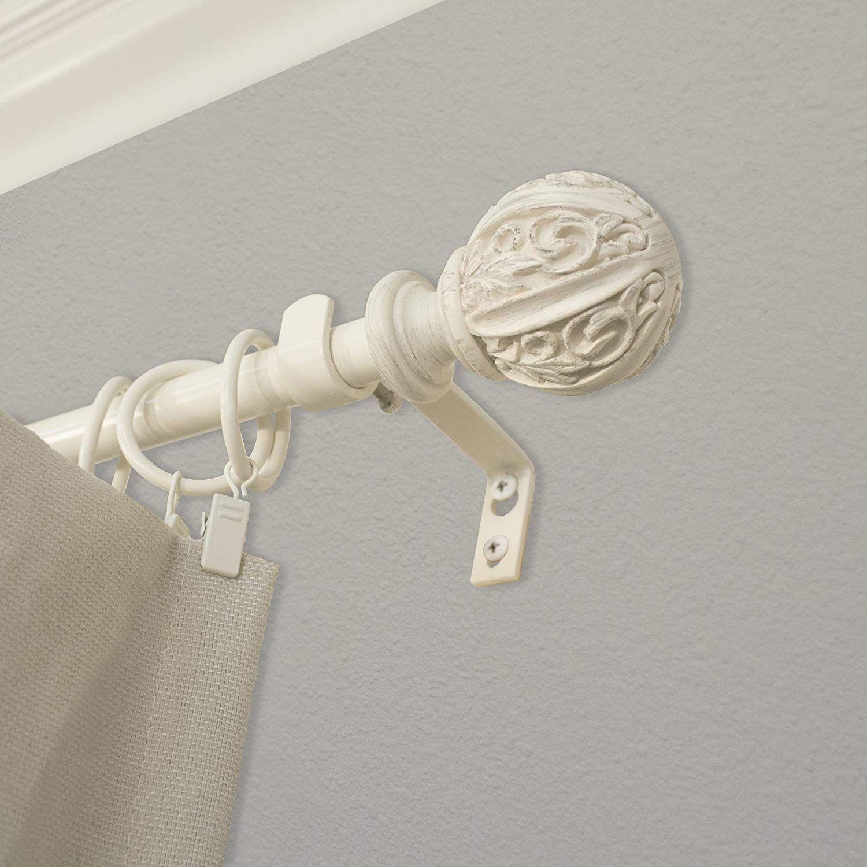 Montevilla Leaf Ball Curtain Rod 48 86 Distressed White