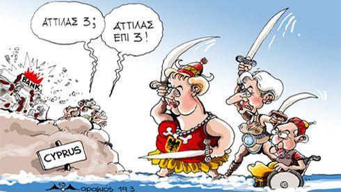 """""""Átila!""""- """"Átila vezes três"""". Da esquerda para a direita Angela Merkel, Christine Lagarde e Wolfgang Schäuble."""