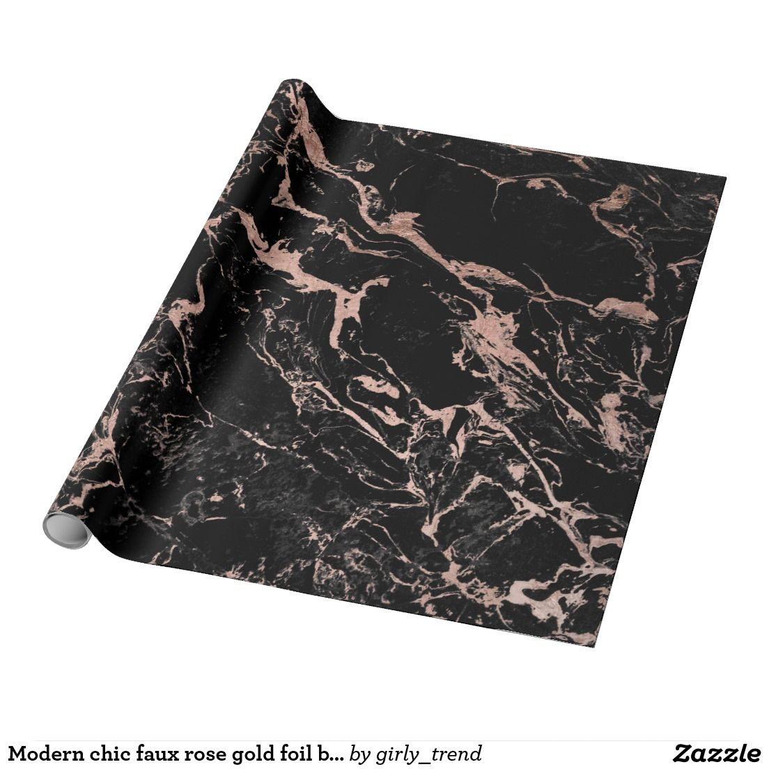 Modern Chic Faux Rose Gold Foil Black Marble Wrapping