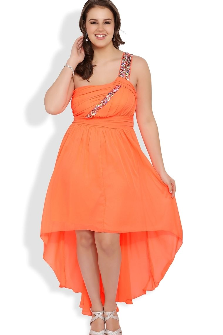 One Shoulder Plus Size High Low Prom Dress With One Shoulder Stone