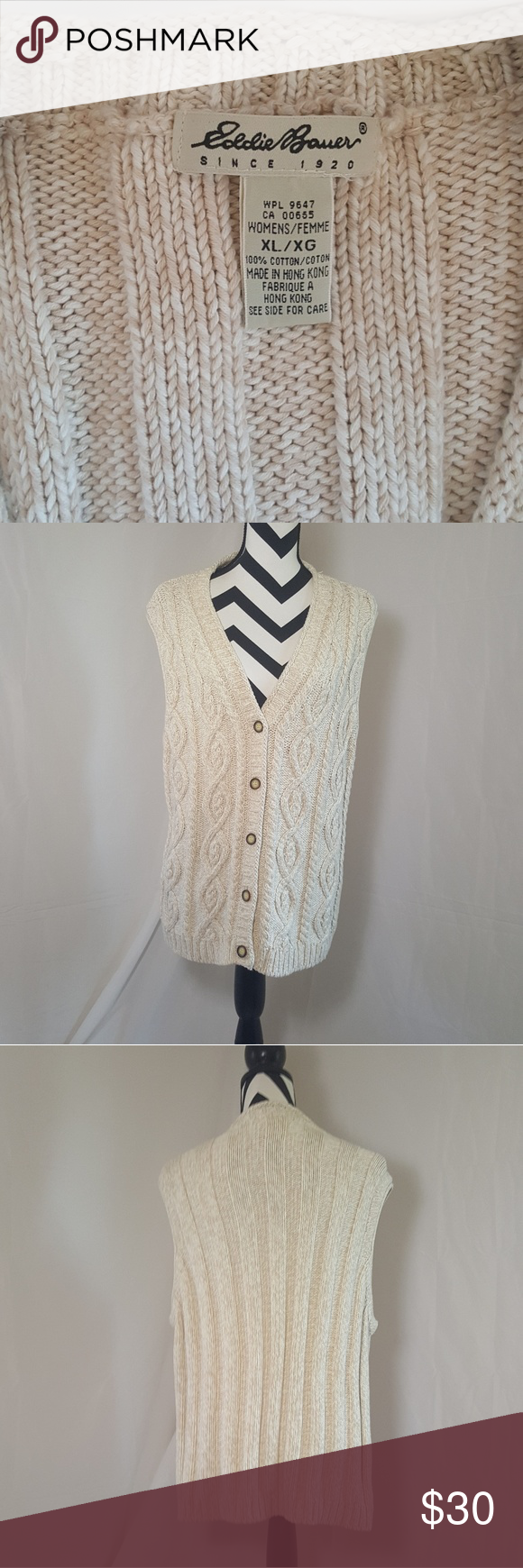 Eddie Bauer Women's XL Cable Knit Vest BUTTER SOFT | Knit vest ...