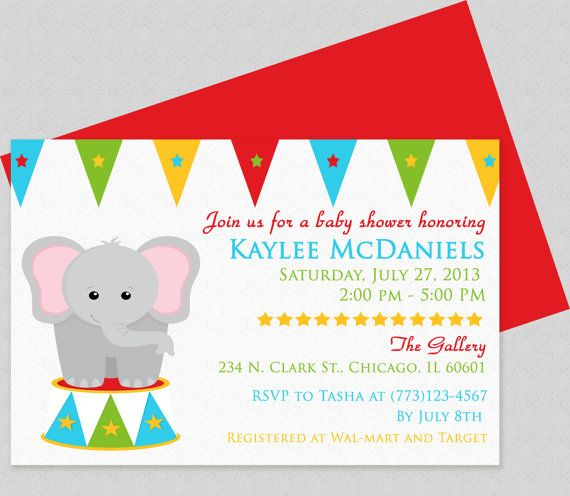 Baby elephant baby shower invitation This design can also used - how to make a birthday invitation on microsoft word