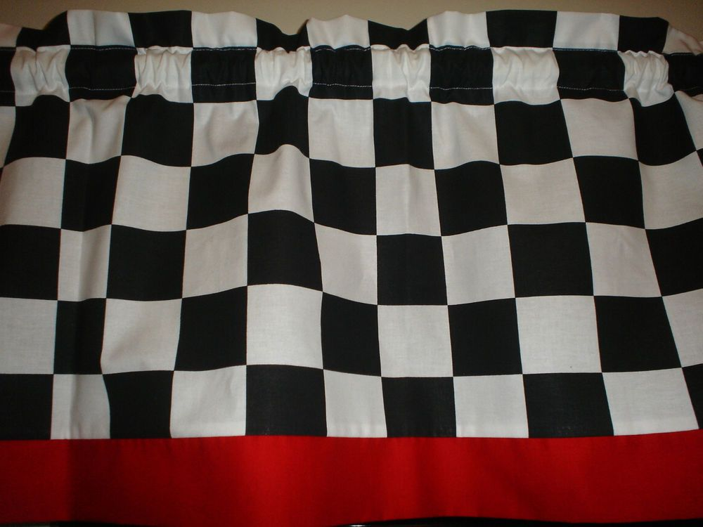 Chef Style Checked Red Trim Black White Kitchen Window Valance Decor