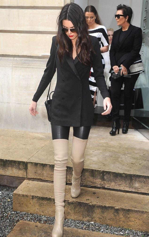 go to fall look. liquid leggings, structured long blazer or top, contrasting over the knee boot