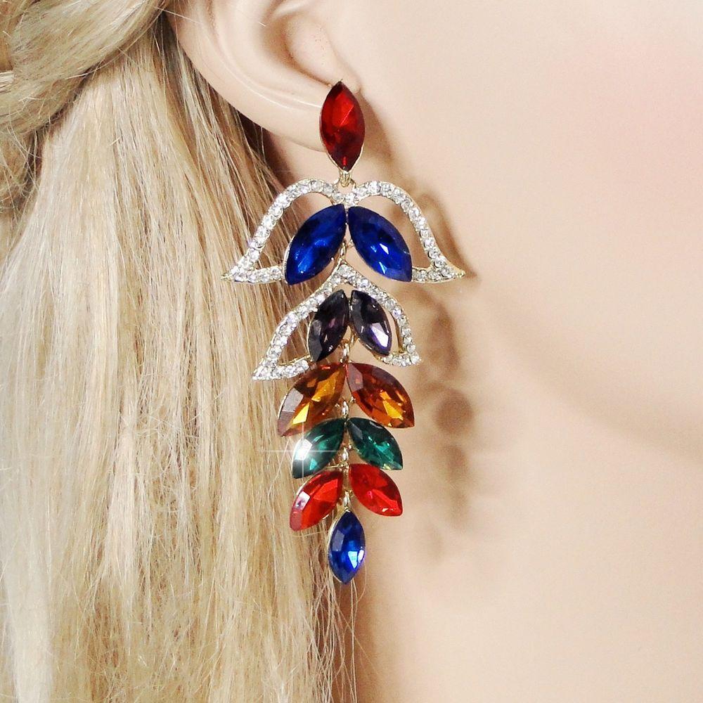 Gorgeous Flower Leaf Pierced Dangle Earrings Multi Rhinestone Crystal #Unbrand #Casual